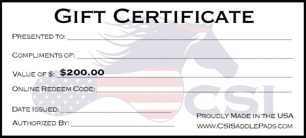 Give your loved one or friend the best gift possible, a CSI Saddle Pad!
