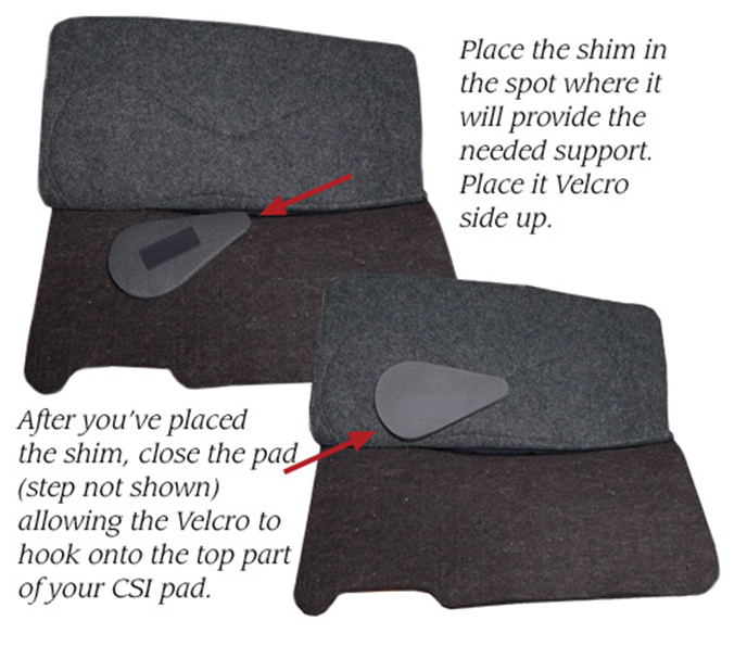 CSI Saddle Pads how to apply Shims