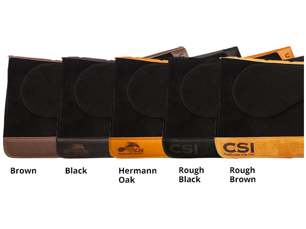 CSI Saddle Pad Wear Leather Options - Brown, Black, Hermann Oak, Rough Black, and Rough Brown